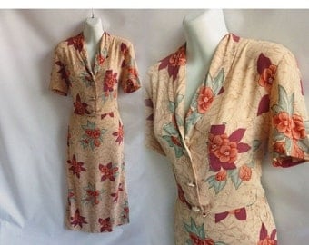 Vintage 70s does 40s Dress Size L Terracotta Taupe Rayon Floral Disco Secretary