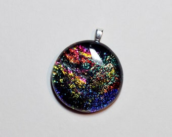 Round sparkly dichroic fused glass pendant - 248