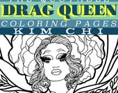 Kim Chi Mini Coloring Book Instant Download PDF | Ru Pauls Drag Race Season 8 lgbt queer pride  | adult COLORING pages | Made by Lauren B