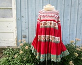 Med. Alpine Turtleneck Sweater Bohemian Red Trapeze Dress// Upcycled// emmevielle