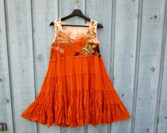M-L Orange Bohemian Upcycled Tank Top Tunic// Bright Colorful// emmevielle