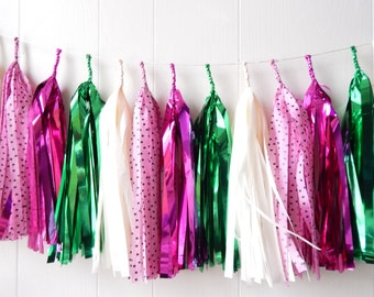 Free Shipping - Tassel Garland - Colorful Spring decor - Easter - Picnic Party - Birthday - Nursery Decor - Photo Prop