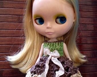 Neo Blythe Princess Crochet Dress - Chocolate