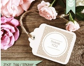 Printable Thank You Labels, Thank You Tags, Thank You Stickers - 3 Inch Square - INSTANT DOWNLOAD - Beige Gift Tags, Product Stickers