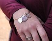 Monogrammed Bangle Bracelet with Charm Set, Personalized Charm Bracelet, Customized Bangle Bracelet