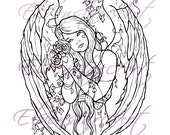 DIGI Stamp Printable Srapbooking Card Making Crafts Fantasy Gothic Angel Withering Flowers Ivy Wings Roses Digital Stamp Download Coloring