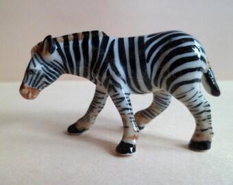 1 of Zebra,Miniatures,Zebra Animal Ceramic,Porcelain Zebra,Porcelain Zebra Figurine,Ceramic Animal Figurine,Wild Animal,Zoo,Collectible
