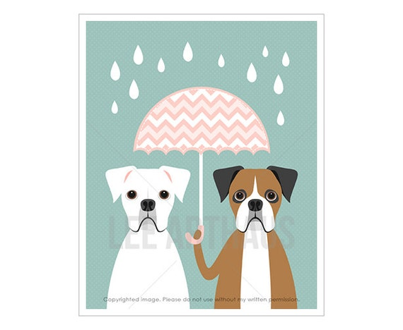 39F Dog Nursery Art Print - White and Brown Boxer with Pink Umbrella Wall Art - Pink and Blue Nursery Decor - Two Boxers Art - Pink Art