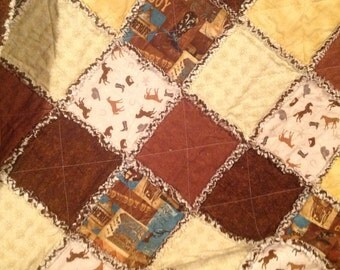 "Cowboy Up/Western Rag Quilt...approx 49"" x 64"""