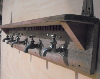 Vintage faucet on barn wood shelf & Coat rack