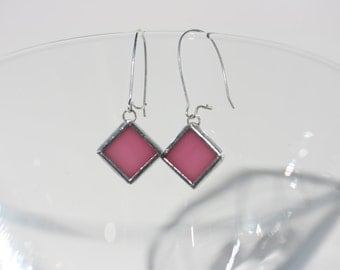 BLUSH stained glass pink earrings