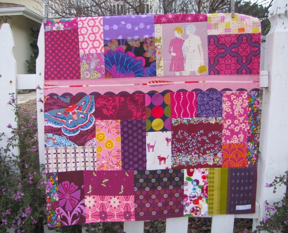 Modern Girl Random Patchwork and Minky Blanket Ready to Ship