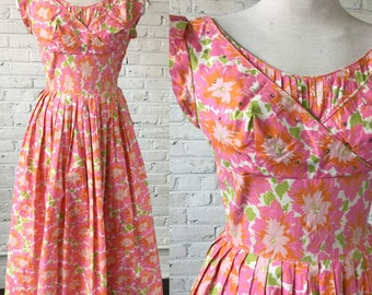 Vintage 1950s Carnation Pink Floral Cotton Party Dress with Rhinestones, size S