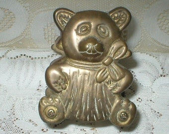 Teddy Bear Bookends Solis Brass Book Mail Postcard Holder Vintage