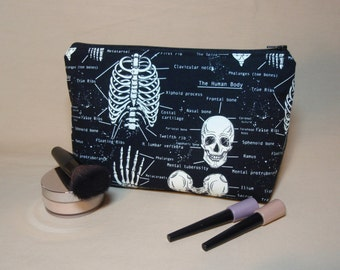 Glow in the Dark Skeletons - Large Padded Cotton Cosmetic Bag Zipper Pouch Inside Pocket