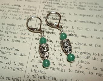 Green Aventurine Owls - Gemstone Lever Back Dangle Earrings