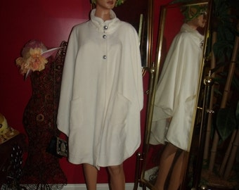 Fleece Boho Poncho  Flapper style Relaxed  does 20-30 style  Off White Cape Handmade