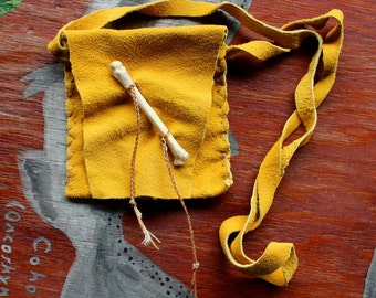 Deerskin necklace pouch with coyote foot bone for crystals, herbs, fetiches, medicine, and other small sacred objects