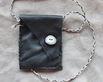 Recycled black leather necklace pouch with antler button and flap for crystals, herbs, fetiches, medicine, and other small sacred objects