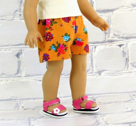 American Girl Doll Summer Clothes, Orange Floral Shorts, AG Doll Clothes Short Shorts