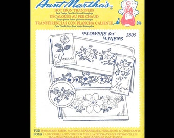 Aunt Martha's Flowers for Linens - Embroidery Transfers 3805