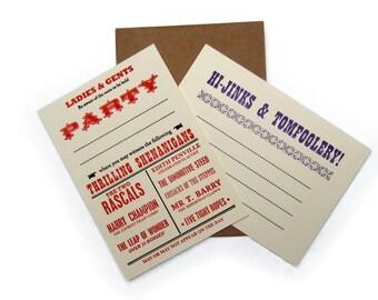 Letterpress Party Invite Notelet Pack