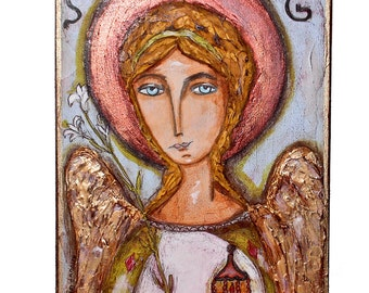 Saint Gabriel - Archangel - Original Painting on Wood Block by FLOR LARIOS (6 x 8  inches)