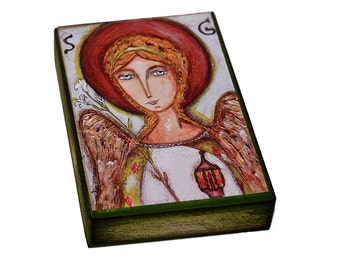 Saint Gabriel - ACEO Giclee print mounted on Wood (2.5 x 3.5 inches) Folk Art  by FLOR LARIOS