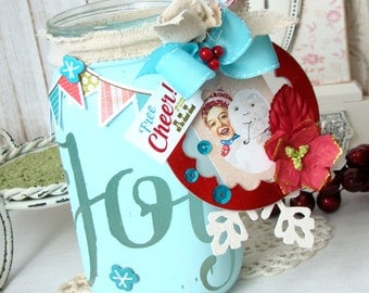 Joy and Cheer Shabby  Chic Handmade Jar