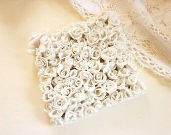Handmade Porcelain Rose Tile