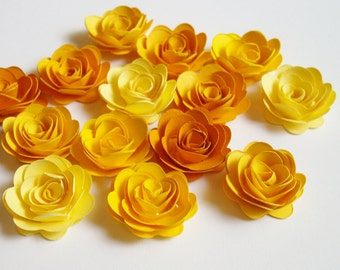 15 Citrus ombre rolled paper flowers, decoration, scrapbook decoration, table decoration, rosette, small flower, embellishment