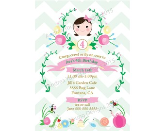 Printable Party Invitation - Cute Bug Garden Party - Digital File