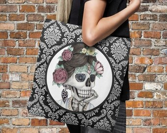 "Sugar Skull Tote Bag Over Sized 18"" x 18""  Cameo Annie Black Damask"