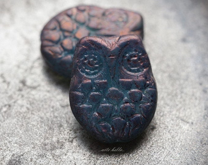 MYSTIC HOOTS .. 2 Premium Picasso Czech Glass Owl Beads 18x15mm (5457-2)