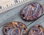 3 Copper Brown Oval Beads made of Pottery; ceramic beads, whimsy pattern