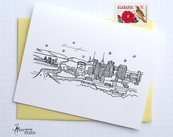 Birmingham, Alabama - United States - City Skyline Series - Folded Cards (6)