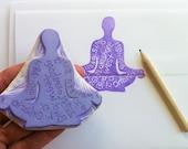 yoga address stamp, hand carved address stamp, handmade stamp, custom stamp, housewarming present, wedding present
