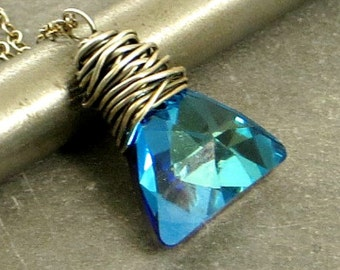 Crystal Triangle Necklace, Blue Crystal Necklace, Eco Friendly Jewelry, Wire Wrap Jewelry, Gifts for Her Ready to Ship