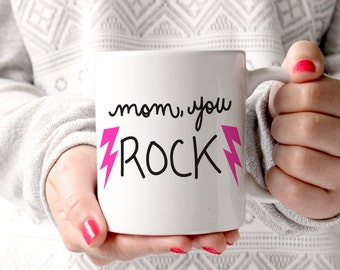mom you rock coffee mug hand lettered mothers day gift double sided mom mug gifts for - Kitchen Gift Ideas For Mom