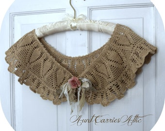 Crochet Capelet, Shrug, Large Collar Tea Stained made from Vintage Tattered Edge Beach Wedding Petite, Small