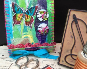 butterflies, needles kit, butterfly, needle book, botanical needle case,handmade needlebook,needle storage,stocking stuffer, gift under 15