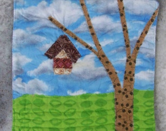 Mug Rug, Coaster or Mini Quilt Bright and Scrappy Rustic Tree and Bird House