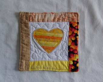 Scrappy  Bright Batik Hearts Mug Rug/Coaster  #11