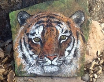 TIGER FACE painted on flagstone