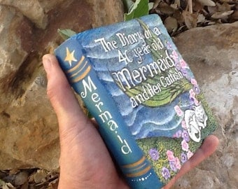 MERMAID ROCK BOOK The Diary of a 40 Year Old Mermaid and Her Cat Fish, painted stone decorative art book