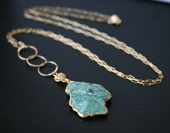Druzy Necklace - Fuchsite Necklace - Gold Dipped Necklace - - Ready to Ship - Raw Stone Necklace - Drusy Necklace - Gold Dipped Pendant
