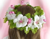 Flower Crown for 18 inch Doll American Girl Doll Flower Crown White and Pink Flower Crown Doll Summer Accessory Am Girl Doll Crown