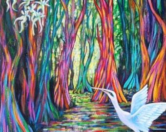 Rainbow Eucalyptus Water Bird coastal landscape original fine art  KeROBinson Sundown Original