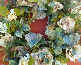 Floral Wreath....Front Door Wreath....Wall Wreath....Rose Wreath....Fall Wreath