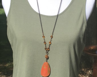 SALE Very long necklace with Burnt Orange and gold Pendant Necklace